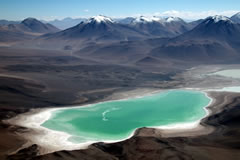 The Green Lagoon, as seen from the top of the Licancabur volcano.