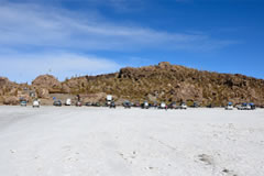 The parking and rest area at the Isla Incahuasi is usually filled with tourists.