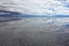 Water in the Salar de Uyuni.