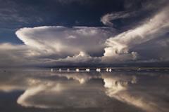 Clouds, sky and salt heaps.
