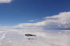 Floating above the salt flat.
