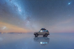 Stargazing with reflection in Uyuni.
