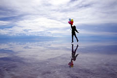 Playing with reflections in The Uyuni Salt Flat.
