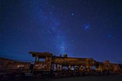 Stars above the train cemetery.