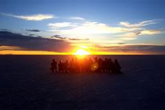 Sunrise in the Salar de Uyuni.