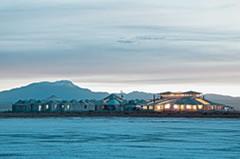 Palacio de Sal hotel seen from the Uyuni Salt Flat.