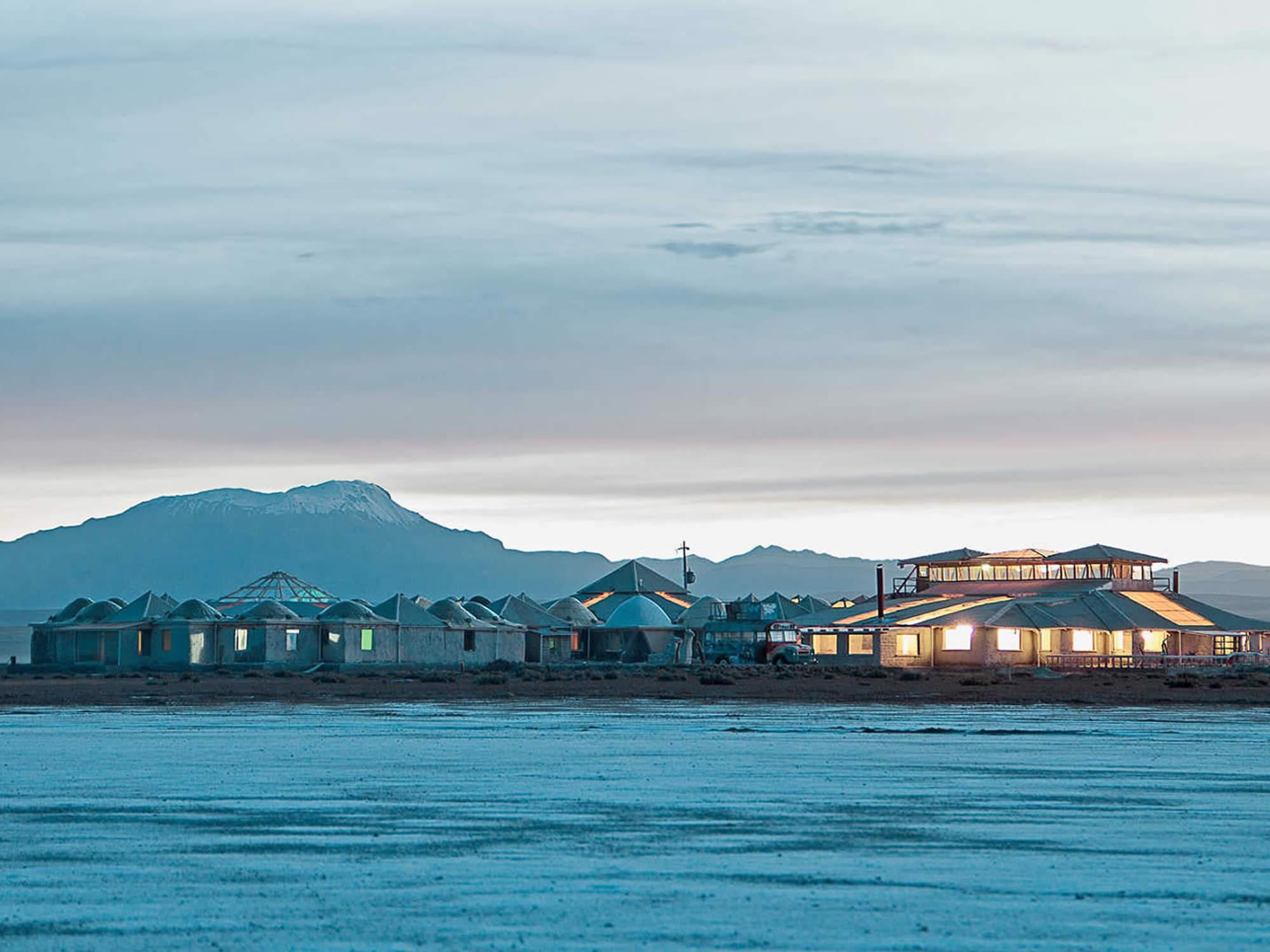 Palacio de Sal hotel seen from the Uyuni Salt Flat