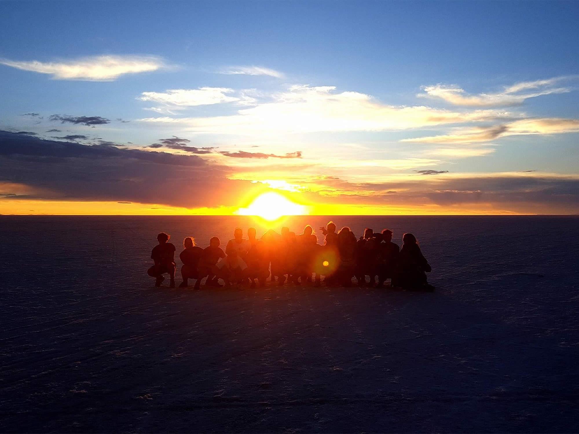 Sunrise in the Salar de Uyuni